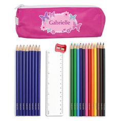 Pink Butterfly Pencil Case & Contents | Personalise | Absolutely Adorable