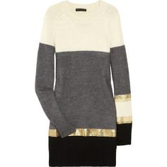 Vionnet Striped knitted sweater dress (7,920 MXN) ❤ liked on Polyvore featuring dresses, tops, vestidos, sweaters, haljine, color block sweater dress, fitted dresses, short dresses, striped dress and fitted sweater dress