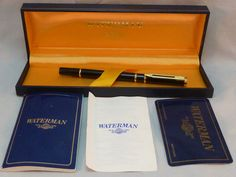 Waterman Ideal Roller Ball Pen Black Lacquer Gold Trim Original Box and Papers #Waterman