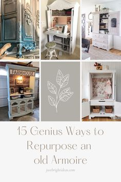 Giving old furniture a makeover is a great way to be creative, save money and help the environment. Check out these genius repurposed armoire ideas for every room in your house! Old Window Frames, Spacious Living Room, Recycling Bins, Repurposed Furniture, Easy Diy Projects, Home Decor Inspiration, Furniture Makeover, Rustic Decor, Armoire