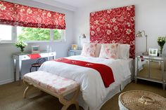 Red or dead...  Colin & Justin's Home Heist; a red and white bedroom.  Dead easy; sometimes a matching headboard and Roman blind are all you need to kick off a cute scheme...