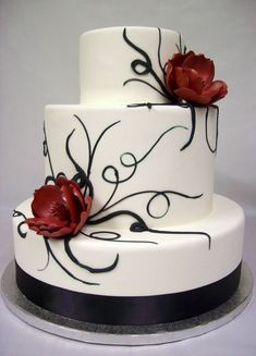 Cool Wedding Cakes and Fancy Cakes Images) Black And White Wedding Cake, White Wedding Cakes, Beautiful Wedding Cakes, Gorgeous Cakes, Pretty Cakes, Amazing Cakes, Red Wedding, Wedding Ideas, Gothic Wedding Cake