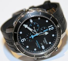Tissot Seastar 1000 Automatic: Great diving watch with a helium valve  on the stainless steel case, a unidirectional diver's bezel and a steel or rubber strap. Water resistant up to 300 m. #Watch #Diving_Watch #Tissot