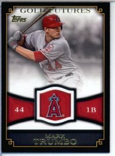 2012 Topps Baseball Gold Futures Card #GF-15 Mark Trumbo Angels -ENCASED Trading Card by 2012 Topps. $7.95. Single 2012 Topps Baseball Series 1 Trading Card. Card ENCASED in a Screwdown Display Case. NOTE: Stock Photo Used. Contact seller if there is no image or you have questions. Card is in MINT condition. Look for thousands of other great sportscards of your favorite player or team. 2012 Topps Baseball Gold Futures Card #GF-15 Mark Trumbo Angels -ENCASED Trading Card