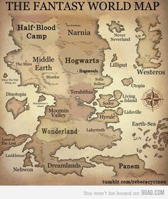 harry potter The Hunger Games Magic hogwarts percy jackson Mockingjay narnia Aslan camp half-blood Fantasy World Map, Fantasy Places, Fantasy Life, Fantasy Story, The Hobbit, Hobbit Hole, Slytherin, The Book, Book Worms