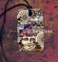 Joanna Grant - Original mixed media art pendant made with recycled materials  www.joannabananadesignoriginals.blogspot.com or www.facebook/JoannaGrantArt Funky Design, Atc, Recycled Materials, Mixed Media Art, Altered Art, Recycling, My Arts, Tile, Crafts