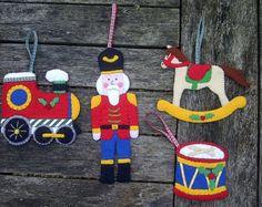 toy soldier, train, rocking horse, drum felt ornament