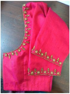 Cutwork Blouse Designs, Wedding Saree Blouse Designs, Simple Blouse Designs, Blouse Simple, Simple Designs, Handmade Embroidery Designs, Embroidery Neck Designs, Hand Embroidery, Hand Work Blouse Design