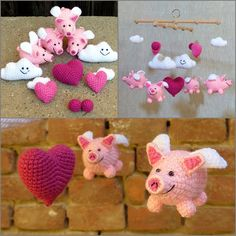 horgolt babaforgó repülő malacokkal rózsaszínben / crochet baby mobile with flying pigs in pink #crochet #horgolt #babaforgó #babymobile #flyingpig #malac Crochet Baby Mobiles, Flying Pig, Hobbit, Kids And Parenting, Dinosaur Stuffed Animal, Projects To Try, Toys, Clever, Pink