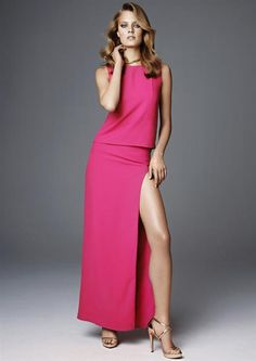 """Conscious Glamour – Constance Jablonski models H's latest line called """"Exclusive Conscious"""" which is a collection of red carpet ready looks made of more sustainable materials. Pink Evening Dress, Evening Dresses, Pink Dress, Pink Maxi, Glamour, Straight Skirt, Basic Tops, Sustainable Clothing, Miranda Kerr"""