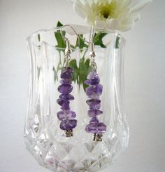 Purple Amethyst Earrings  Long Dangling  by CraftsbySigita on Etsy,