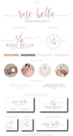 Watercolor Logo Design Custom Logo Design Rose gold Branding