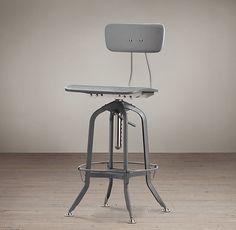Vintage Toledo Bar Chair, Gray Enamel - industrial - bar stools and counter stools - Restoration Hardware