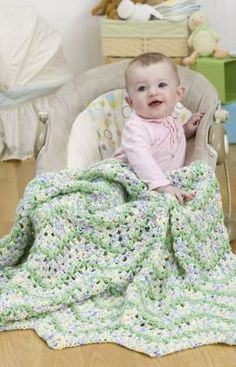 Blissful Baby Afghan Free Crochet Pattern from Red Heart Yarns