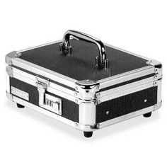 This stylish Black Cash Box from Vaultz is perfect for a yard sale, bake sale, or school play, or for basic money organization and storage. The box includes a tray to organize bills and change, plus extra space for stashing tickets or receipts. The box has rubber feet that won't skid or scuff surfaces, pretty silver trim and a convenient carrying handle. This lock box opens with a handy combination lock so you don't have to hassle with transferring or locating a key.