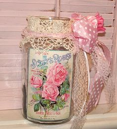 DIY Shabby Jar - label printed onto regular paper and attached w/Elmer's glue