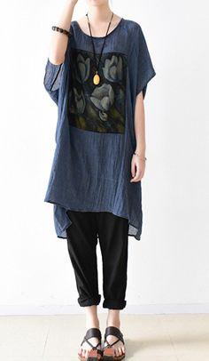 blue print casual stylish t shirt dress oversize cotton sundress o neck summer dresses