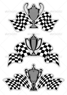Buy Racing Sport Awards and Trophies by VectorTradition on GraphicRiver. Racing sport awards and trophies with checkered flags isolated on white background. Editable and JPEG (can edit .