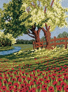 Spring Poppies Tapestry Kit By Twilleys of Stamford Cross Stitch Embroidery, Cross Stitch Patterns, Phad Painting, Craft Museum, Tapestry Kits, Cross Stitch Landscape, Scenery Pictures, Beaded Cross, Cross Stitch Flowers