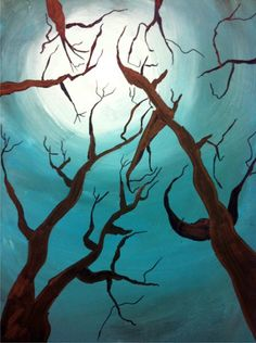 Trees and moon paint - Value scale. Start with color, add white towards center. Add black towards outer edges. Marker for trees. Bottom two angled in the corners.