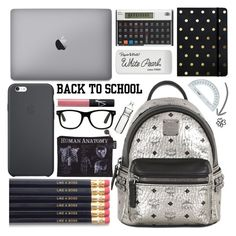 """""""What's in my backpack?"""" by karineminzonwilson ❤ liked on Polyvore featuring MCM, Sugar Paper, Paper Mate, NARS Cosmetics, Sagaform, BackToSchool, black, Silver and inmybackpack"""