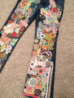 hippie denim patch work recycled retro  jeans