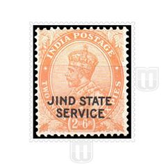 "KING GEORGE V | Type	: Definitive | Stamp Name : King George V | Stamp Issue Date :	1937 | Stamp Colour : orange | Face Value	: 2 annas 6 pies | Stamp Printed At	:	India Security Press, Nashik | Printing Process : Typography | Description	:	Overprinted with ""JIND STATE"" and ""SERVICE"". JIND STATE in one row with small font 
