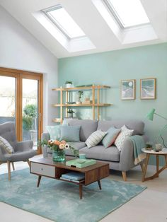 72 blue living room scandinavian paint color ideas why a blue living room can feel so good 16 - coodecors Living Room Green, Home Living Room, Living Room Turquoise, Living Room Decor Ideas Apartment, Design Apartment, Living Room Color Schemes, Living Room Designs, Colors For Living Room, Bright Living Rooms
