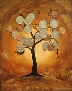 Feng Shui Money Tree Mixed Media By Starkovagallery On Etsy, Coin Crafts, Diy And Crafts, Arts And Crafts, Feng Shui Money Tree, Feng Shui House, Coin Art, Feng Shui Tips, Money Trees, Button Art