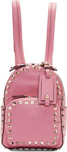 Valentino Pink Leather Rockstud Mini Backpack