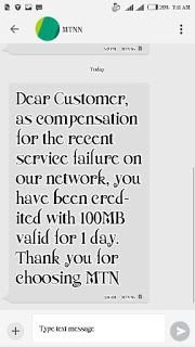 MTN Compensating Customers With Free 100MB