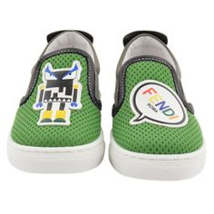 Kids Cavern - Fendi SS17 Boys Green & Grey 'Robot' Slip-On Shoes - Armani Junior, D&G, Childrens Clothing, Designer clothes, fashion, Kids Cavern, D and G, Kids Clothing