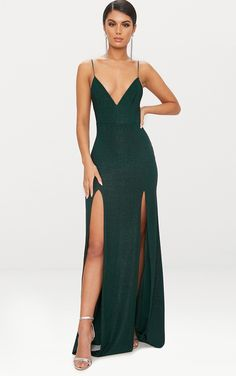 Emerald Green Strappy Plunge Double Split Detail Maxi Dress