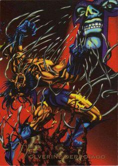 Wolverine Derrotado-Pepsi Cards  El Hombre-X, Wolverine, le había dado a Magneto un golpe casi mortal dentro de su fortaleza voladora, Avalon. Pero Magneto contraataco con un supremo acto de violencia. Utilizo su poder de magnetismo para poder quitar todo el Adamantium del esqueleto de Wolverine. Con la aleación indestructible retirada de su esqueleto, Wolverine no solo perdió la batalla, también su deseo de permanecer como un Hombre X.