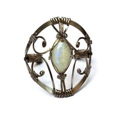 Wire Wrapped Moonstone Cuff Bracelet by HyppieChic on Etsy, $58.00