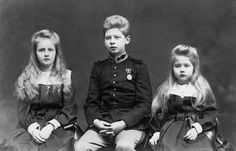 The three eldest children of King Ferdinand and Queen Marie of Romania and grandchildren of Prince Alfred of Edinburgh and Saxe-Coburg; (l to r), Elizabeth (Elisabetta), Carol (later King Carol II) and Marie. Romanian Royal Family, Royal Families Of Europe, Old King, Grand Duke, Rich Kids, Royal Weddings, Prince And Princess, Ferdinand, Queen Victoria