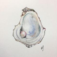 Watercolor oyster and pearl // yum