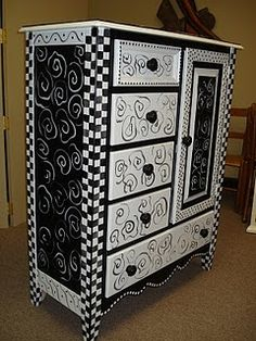 Black and White Funky furniture! Funky Painted Furniture, Painted Chairs, Funky Furniture, Paint Furniture, Repurposed Furniture, Furniture Projects, Furniture Makeover, Painted Dressers, Bedroom Furniture
