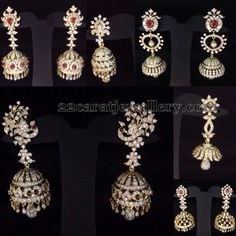Jewellery Designs: Diamond Jhumkas New Collection