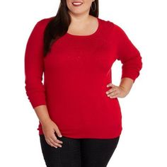 Plus Size George Women's Plus Embellished Pullover Sweater, Size: 1XL, Multicolor