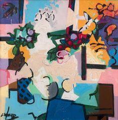 CLAUDE VENARD (1913-1999) Nature morte Huile sur toile, signée en bas à gauche et titrée au dos 100 x 100 cm - 39 3/8 x 39 3/8 in. Oil on canvas, signed lower left and titled on the reverse Le certficat… - Aguttes - 08/04/2018