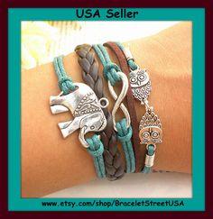 Silver+Infinity+bracelet+karma+owls+bracelet+by+BraceletStreetUSA,+$12.95