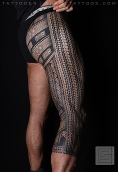 Polynesian Samoan Inspired Leg tattoo - 30 Pictures of Samoan Tattoos <3 <3