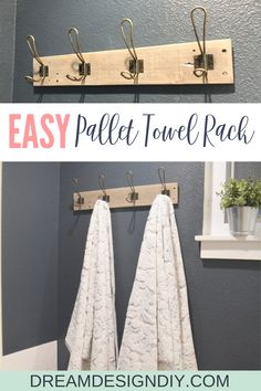 Make this easy pallet towel rack from a pallet or piece of scrap wood. These towel hooks are perfect for quickly hanging bath towels while also looking stylish. Add some pretty patterned towels to add character to your bathroom walls. The stained wood and Hanging Bath Towels, Bath Towel Hanger, Towel Rack Bathroom, Pallet Towel Rack, Diy Hooks, Bathroom Organization, Bathroom Ideas, Bathroom Stuff, Downstairs Bathroom