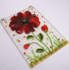 RESERVED Listing for Julie Schuler  Fused Glass suncatcher (Red Flower). $25.00, via Etsy.