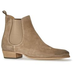 TOPMAN Taupe Suede Chelsea Boots ($97) ❤ liked on Polyvore featuring men's fashion, men's shoes, men's boots, brown, mens suede chelsea boots, mens brown suede shoes, mens suede boots, mens brown chelsea boots and mens cuban heel chelsea boots