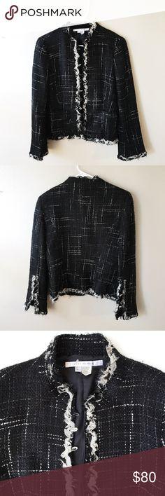 Tweed Jacket Zara's Tweed masterpiece with round buttons and embellished front, sleeves, collars, bottom hem. Zara Jackets & Coats Blazers