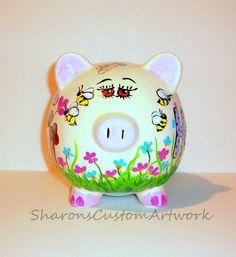 Hand Painted Jumbo Piggy Large Ceramic by SharonsCustomArtwork, $85.00