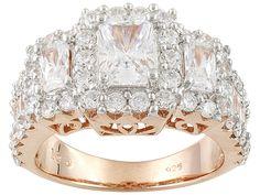 Bella Luce (R) 5.73ctw Emerald Cut, Round & Baguette Eterno (Tm) Rose Ring