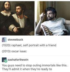 The renaissance painter Raphael came back as... Oscar Isaac!?! Yasssss!!